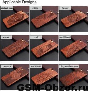 Бамбуковый чехол с лазерной гравировкой на iPhone 5/6/6+/7/7+